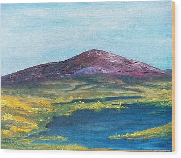 Wood Print featuring the painting Heather Mountain by Conor Murphy
