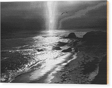 Heavens Light Black And White Wood Print