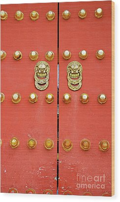 Heavy Ornate Door Knockers On A Gate Wood Print by Sami Sarkis