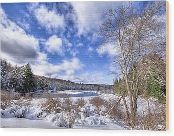 Wood Print featuring the photograph Heavy Snow At The Green Bridge by David Patterson