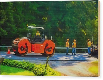 Heavy Tandem Vibration Roller Compactor At Asphalt Pavement Works For Road Repairing 2 Wood Print by Lanjee Chee