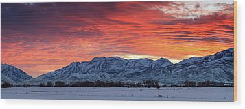 Wood Print featuring the photograph Heber Valley Panoramic Winter Sunset. by Johnny Adolphson