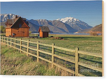 Heber Valley Ranch House - Wasatch Mountains Wood Print by Gary Whitton