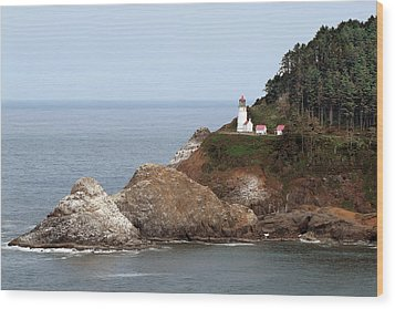 Heceta Head Lighthouse - Oregon's Scenic Pacific Coast Viewpoint Wood Print by Christine Till