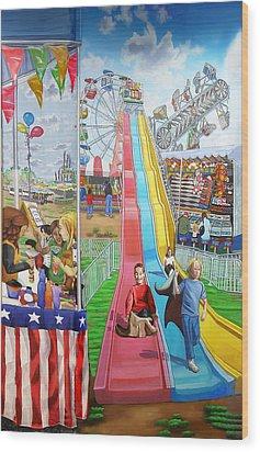 Hecksher Park Fair Wood Print by Bonnie Siracusa