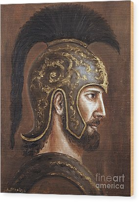 Wood Print featuring the painting Hector by Arturas Slapsys