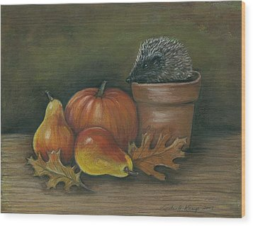 Hedgehog In Flower Pot Wood Print
