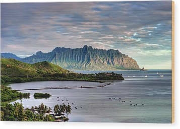 He'eia Fish Pond And Kualoa Wood Print by Dan McManus