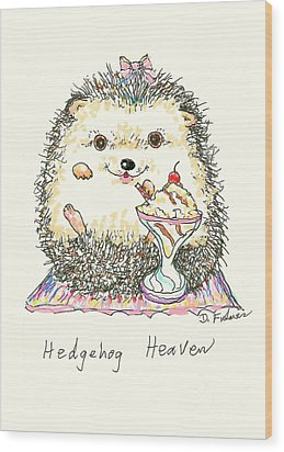 Hedgehog Heaven Wood Print