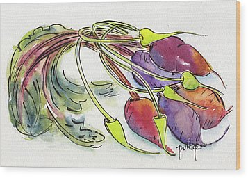Wood Print featuring the painting Heirloom Beets And Garlic Scapes by Pat Katz