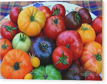 Wood Print featuring the photograph Heirloom Tomatoes by Vivian Krug