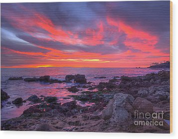 Wood Print featuring the photograph Heisler Park Tide Pools At Dusk by Eddie Yerkish