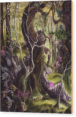 Wood Print featuring the painting Heist Of The Wizard's Staff by Curtiss Shaffer