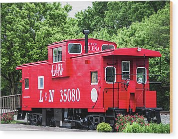 Wood Print featuring the photograph Helena Red Caboose by Parker Cunningham