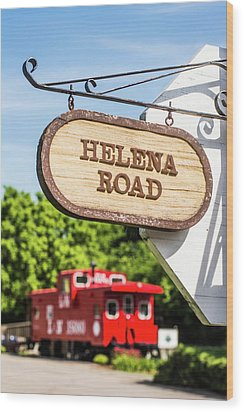 Wood Print featuring the photograph Helena Road Sign by Parker Cunningham