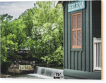 Wood Print featuring the photograph Helena Sign By Buck Creek by Parker Cunningham