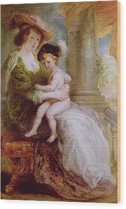 Helene Fourment And Her Son Frans Wood Print by Rubens
