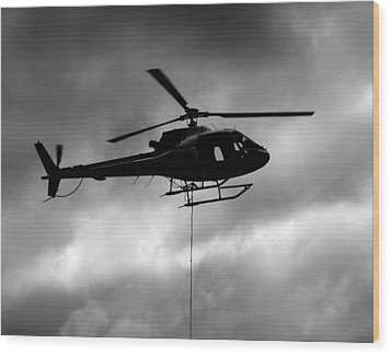 Helicopter In Sling Operations Wood Print by Wyatt Rivard