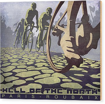 Hell Of The North Retro Cycling Illustration Poster Wood Print