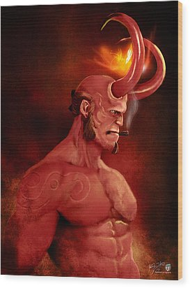Hellboy Wood Print by Jason Longstreet