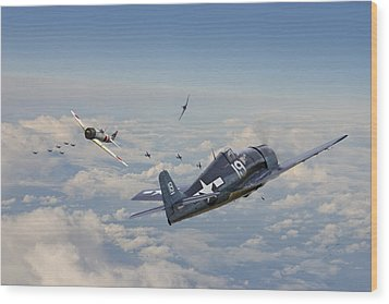 Hellcat F6f - Duel In The Sun Wood Print