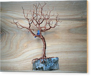 Hello Blue Bird Wood Print