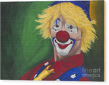 Hello Clown Wood Print by Patty Vicknair