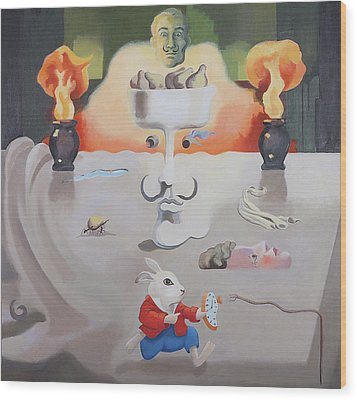 Hello Dali Wood Print