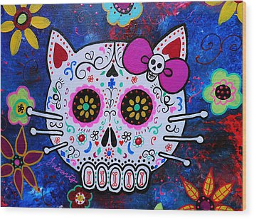 Kitty Day Of The Dead Wood Print