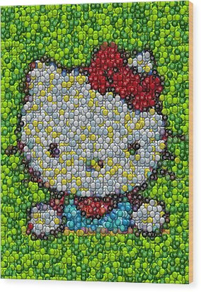 Hello Kitty Mm Candy Mosaic Wood Print by Paul Van Scott
