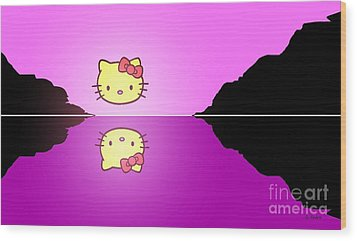 Hello Kitty Sunrise Wood Print by George Pedro