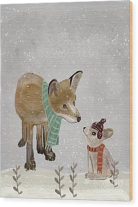 Wood Print featuring the painting Hello Mr Fox by Bri B