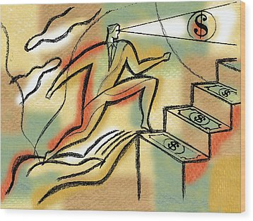 Wood Print featuring the painting Helping Hand And Money by Leon Zernitsky