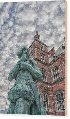 Wood Print featuring the photograph Helsingor Train Station Statue by Antony McAulay