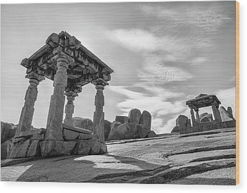 Wood Print featuring the photograph Hemakuta Hill, Hampi, 2017 by Hitendra SINKAR