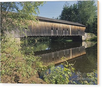 Hemlock Covered Bridge - Fryeburg Maine Usa. Wood Print by Erin Paul Donovan