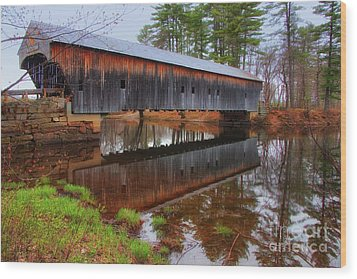 Hemlock Covered Bridge Fryeburg Maine Wood Print