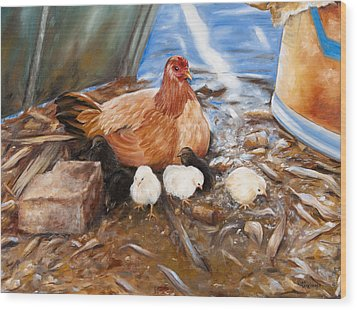 Hen And Biddies Wood Print by Rick McKinney