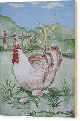Hen And Eggs Wood Print
