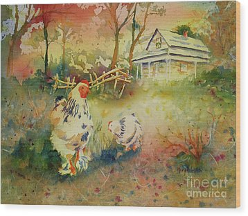 Hen And Rooster Wood Print