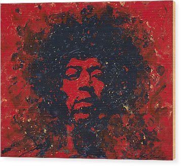 Hendrix Wood Print by Chris Mackie