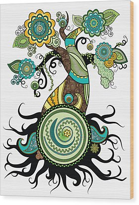 Henna Tree Of Life Wood Print by Serena King