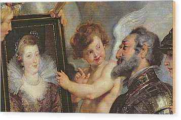 Henri Iv Receiving The Portrait Of Marie De Medici Wood Print by Rubens