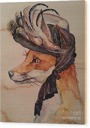 Wood Print featuring the painting Henrietta Fox by Christy  Freeman