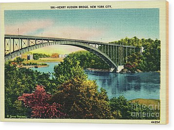 Henry Hudson Bridge Postcard Wood Print by Cole Thompson
