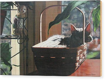 Wood Print featuring the painting Her Basket by Sandra Chase