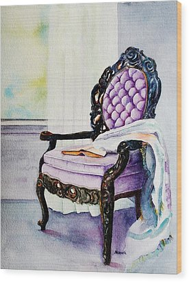 Her Chair Wood Print by Kathy Nesseth