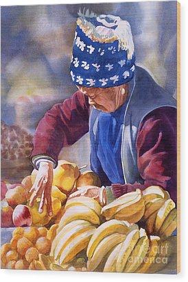 Her Fruitstand Wood Print by Sharon Freeman