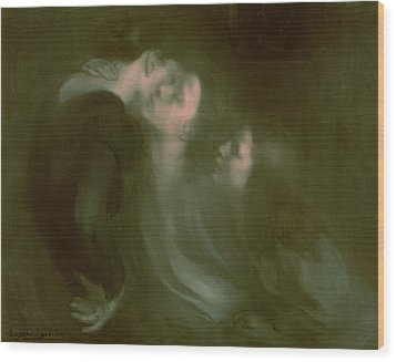 Her Mother's Kiss Wood Print by Eugene Carriere