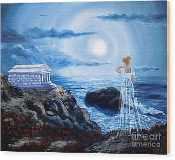 Her Tomb By The Sounding Sea Wood Print by Laura Iverson